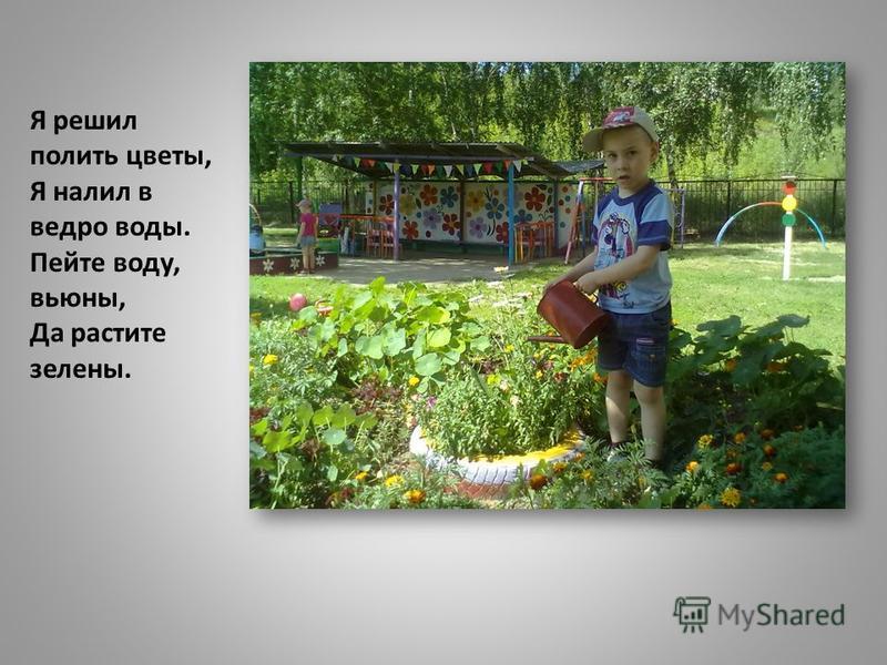 Я решил полить цветы, Я налил в ведро воды. Пейте воду, вьюны, Да растите зелены.