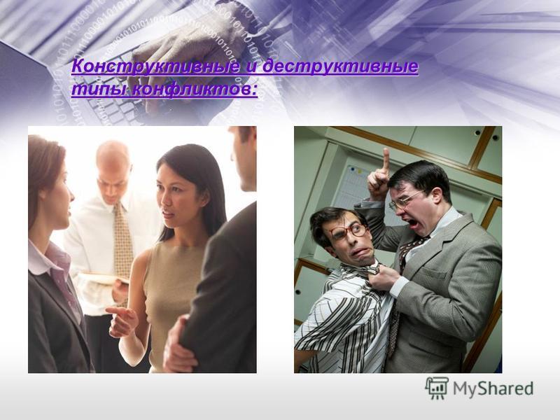 Конструктивные и деструктивные типы конфликтов: Конструктивный Деструктивный