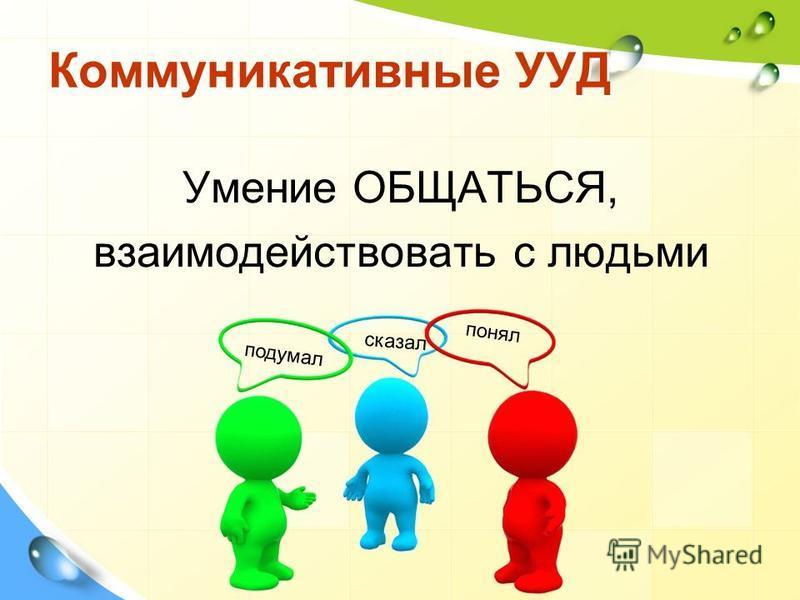 Коммуникативные УУД Умение ОБЩАТЬСЯ, взаимодействовать с людьми подумал понял сказал