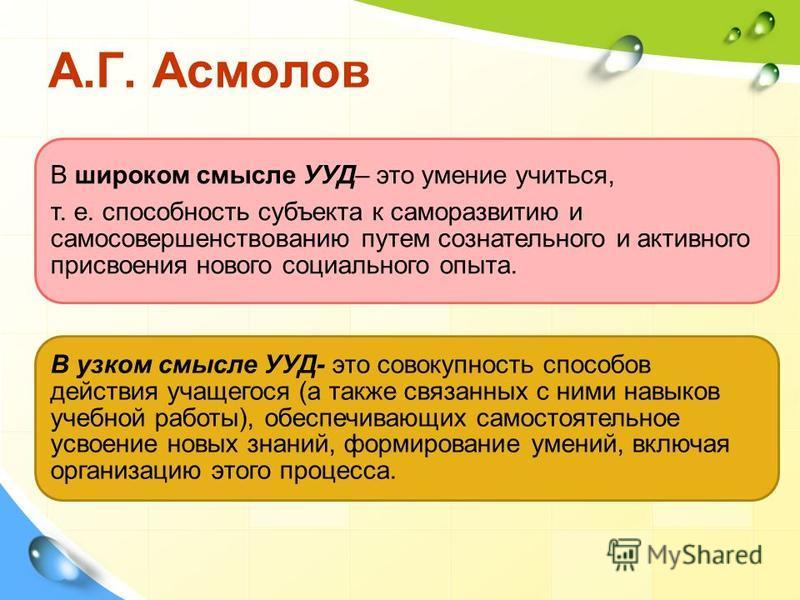 А.Г. Асмолов В широком смысле УУД– это умение учиться, т. е. способность субъекта к саморазвитию и самосовершенствованию путем сознательного и активного присвоения нового социального опыта. В узком смысле УУД- это совокупность способов действия учаще