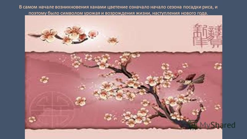 В самом начале возникновения ханами цветение означало начало сезона посадки риса, и поэтому было символом урожая и возрождения жизни, наступления нового года.