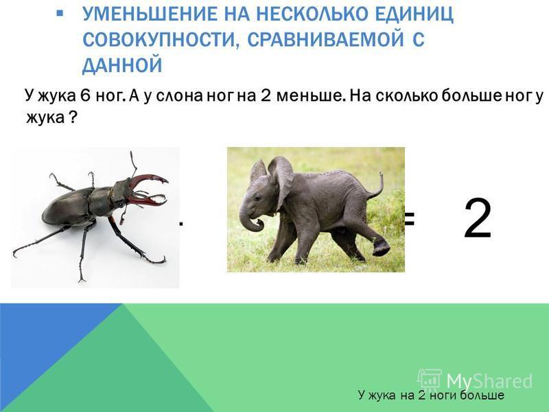 УМЕНЬШЕНИЕ НА НЕСКОЛЬКО ЕДИНИЦ СОВОКУПНОСТИ, СРАВНИВАЕМОЙ С ДАННОЙ У жука 6 ног. А у слона ног на 2 меньше. На сколько больше ног у жука ? 6 – 4 = У жука на 2 ноги больше