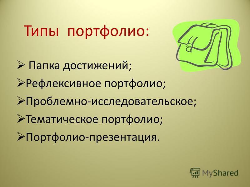 Типы портфолио: Папка достижений; Рефлексивное портфолио; Проблемно-исследовательское; Тематическое портфолио; Портфолио-презентация.