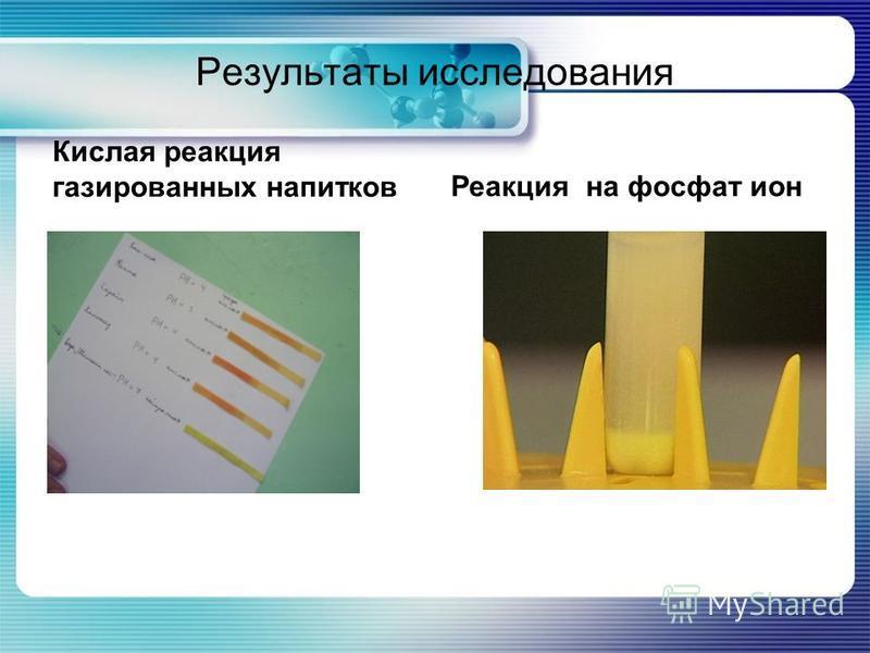 Результаты исследования Кислая реакция газированных напитков Реакция на фосфат ион