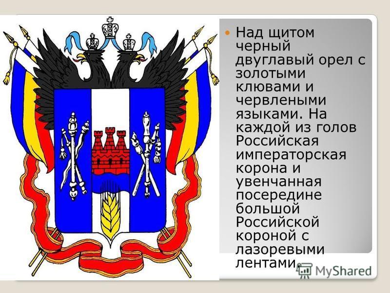 Над щитом черный двуглавый орел с золотыми клювами и червлеными языками. На каждой из голов Российская императорская корона и увенчанная посередине большой Российской короной с лазоревыми лентами.