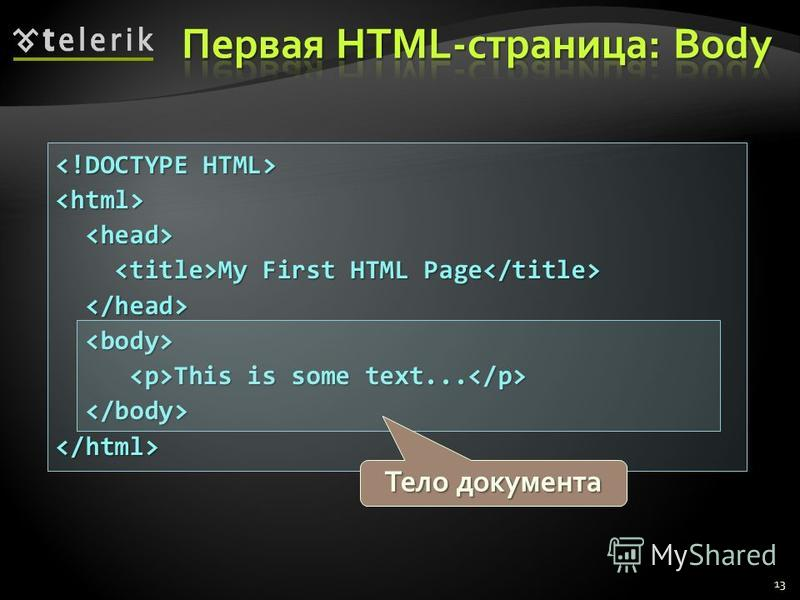 <html> My First HTML Page My First HTML Page This is some text... This is some text... </html> 13 Тело документа