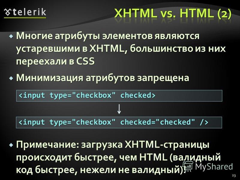 Многие атрибуты элементов являются устаревшими в XHTML, большинство из них переехали в CSS Многие атрибуты элементов являются устаревшими в XHTML, большинство из них переехали в CSS Минимизация атрибутов запрещена Минимизация атрибутов запрещена Прим