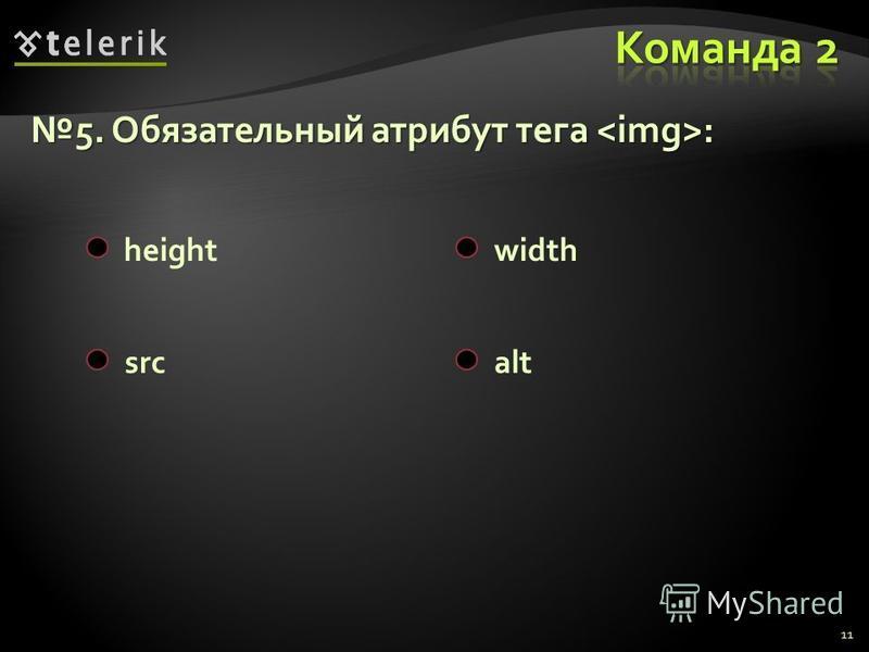 11 5. Обязательный атрибут тега :5. Обязательный атрибут тега : heightwidth srcalt