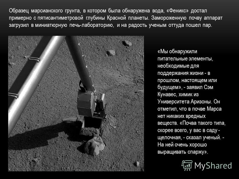 «Мы обнаружили питательные элементы, необходимые для поддержания жизни - в прошлом, настоящем или будущем», - заявил Сэм Кунавес, химик из Университета Аризоны. Он отметил, что в почве Марса нет никаких вредных веществ. «Почва такого типа, скорее все