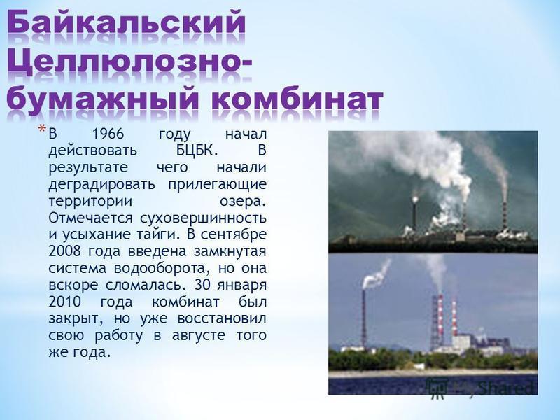* В 1966 году начал действовать БЦБК. В результате чего начали деградировать прилегающие территории озера. Отмечается суховершинность и усыхание тайги. В сентябре 2008 года введена замкнутая система водооборота, но она вскоре сломалась. 30 января 201