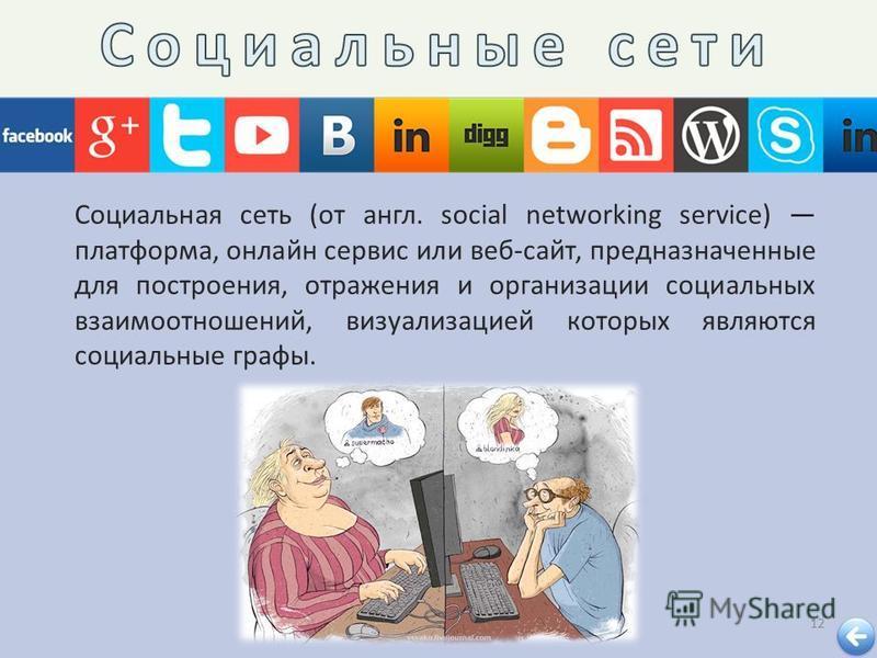 12 Социальная сеть ( от англ. social networking service) платформа, онлайн сервис или веб - сайт, предназначенные для построения, отражения и организации социальных взаимоотношений, визуализацией которых являются социальные графы.