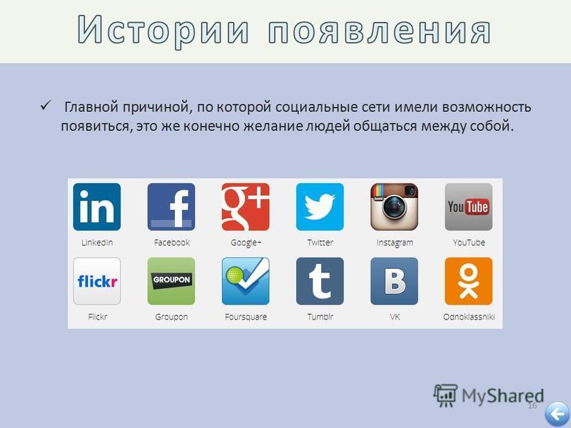 16 Главной причиной, по которой социальные сети имели возможность появиться, это же конечно желание людей общаться между собой.