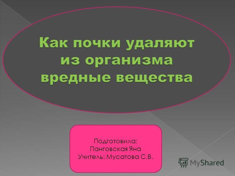 Подготовила: Панговская Яна Учитель: Мусатова С.В.