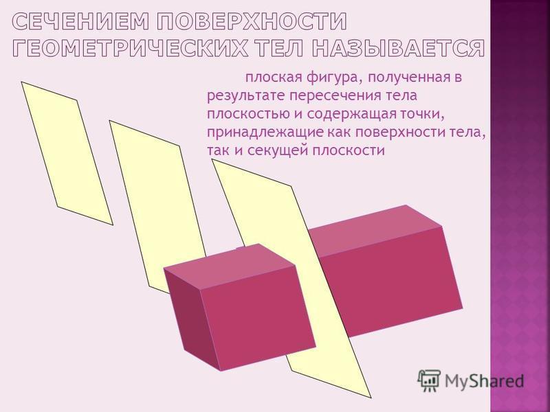 плоская фигура, полученная в результате пересечения тела плоскостью и содержащая точки, принадлежащие как поверхности тела, так и секущей плоскости