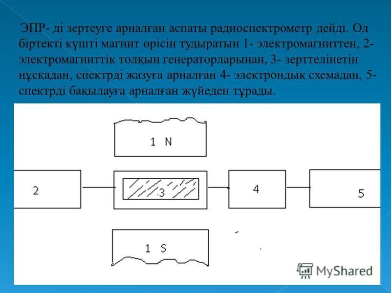 ЭПР- ді зертеуге арналған аспаты радиоспектрометр дейді. Ол біртекті күшті магнит өрісін тудыратын 1- электромагниттен, 2- электромагниттік толқын генераторларынан, 3- зерттелінетін нұсқадан, спектрді жазуға арналған 4- электрондық схемадан, 5- спект