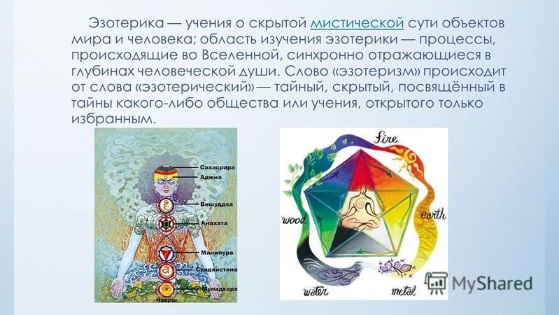 Эзотерика учения о скрытой мистической сути объектов мира и человека; область изучения изотерики процессы, происходящие во Вселенной, синхронно отражающиеся в глубинах человеческой души. Слово «изотеризм» происходит от слова «изотерический» тайный, с