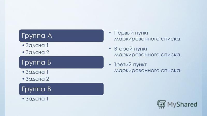 Группа А Задача 1 Задача 2 Группа Б Задача 1 Задача 2 Группа В Задача 1 Первый пункт маркированного списка. Второй пункт маркированного списка. Третий пункт маркированного списка.