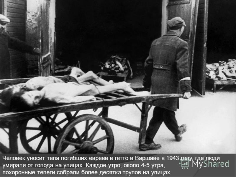 Человек уносит тела погибших евреев в гетто в Варшаве в 1943 году, где люди умирали от голода на улицах. Каждое утро, около 4-5 утра, похоронные телеги собрали более десятка трупов на улицах.