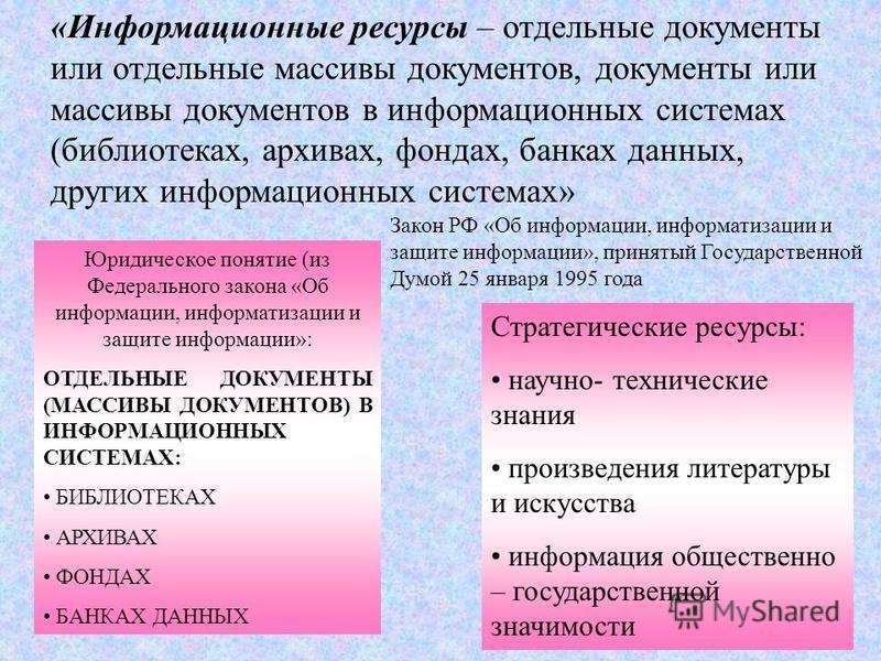 «Информационные ресурсы – отдельные документы или отдельные массивы документов, документы или массивы документов в информационных системах (библиотеках, архивах, фондах, банках данных, других информационных системах» Закон РФ «Об информации, информат