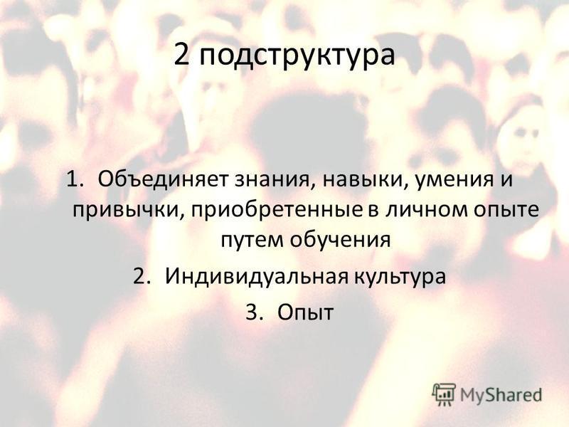 2 подструктура 1. Объединяет знания, навыки, умения и привычки, приобретенные в личном опыте путем обучения 2. Индивидуальная культура 3.Опыт
