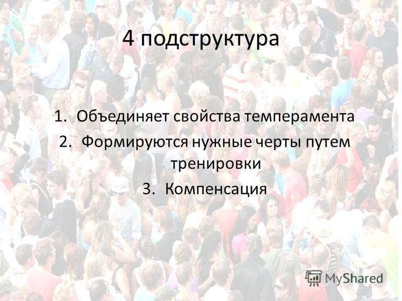 4 подструктура 1. Объединяет свойства темперамента 2. Формируются нужные черты путем тренировки 3.Компенсация