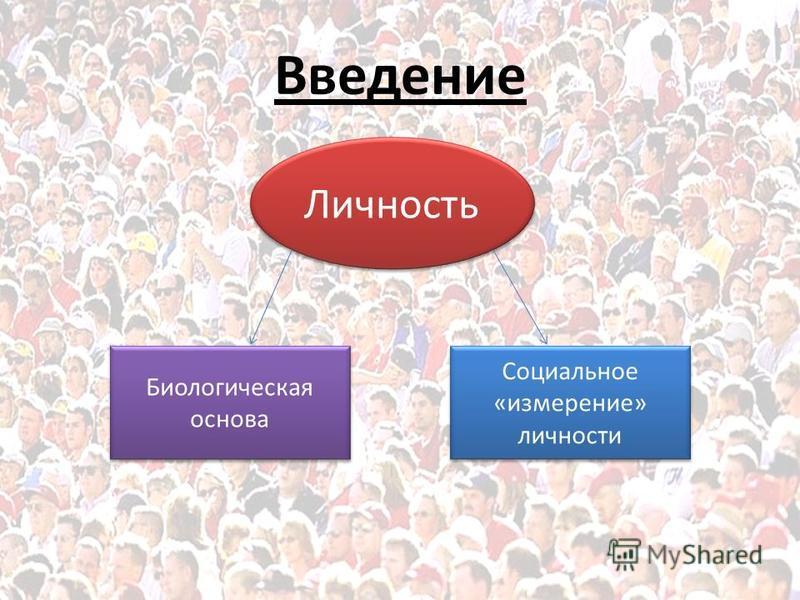 Введение Личность Биологическая основа Социальное «измерение» личности