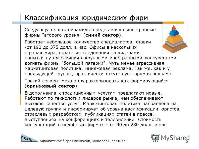 Адвокатское бюро Плешаков, Ушкалов и партнеры 6 Следующую часть пирамиды представляют иностранные фирмы