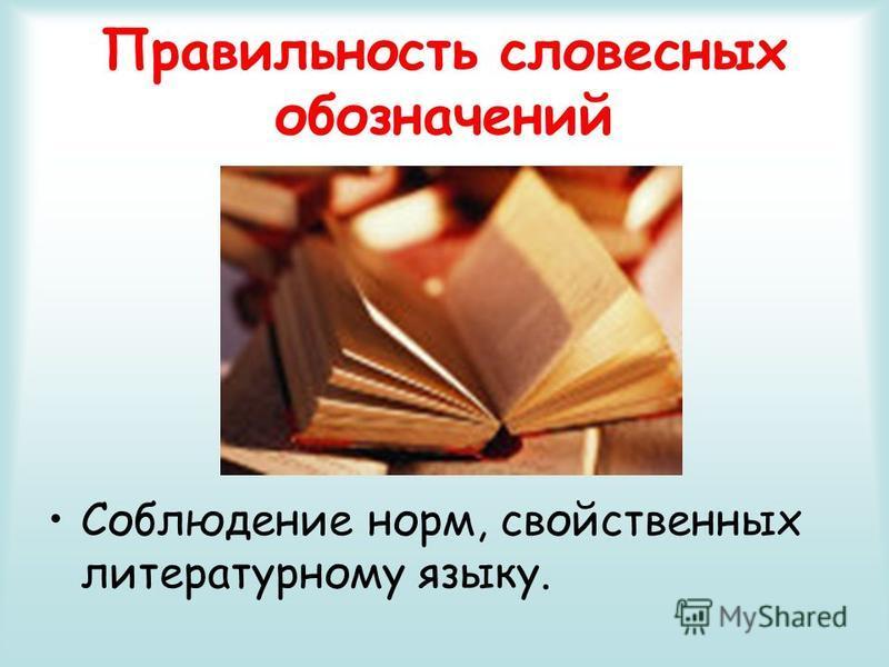 Правильность словесных обозначений Соблюдение норм, свойственных литературному языку.