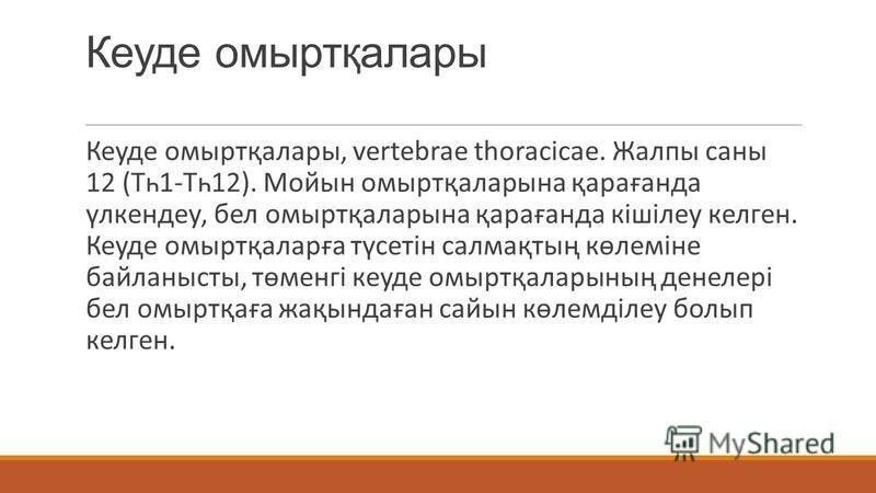 Кеуде омыртқалары Кеуде омыртқалары, vertebrae thoracicae. Жалпы саны 12 (Тһ1-Тһ12). Мойын омыртқаларына қарағанда үлкендеу, бел омыртқаларына қарағанда кішілеу келген. Кеуде омыртқаларға түсетін салмақтың көлеміне байланысты, төменгі кеуде омыртқала