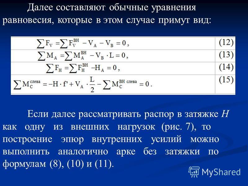 Далее составляют обычные уравнения равновесия, которые в этом случае примут вид: Если далее рассматривать распор в затяжке Н как одну из внешних нагрузок (рис. 7), то построение эпюр внутренних усилий можно выполнить аналогично арке без затяжки по фо