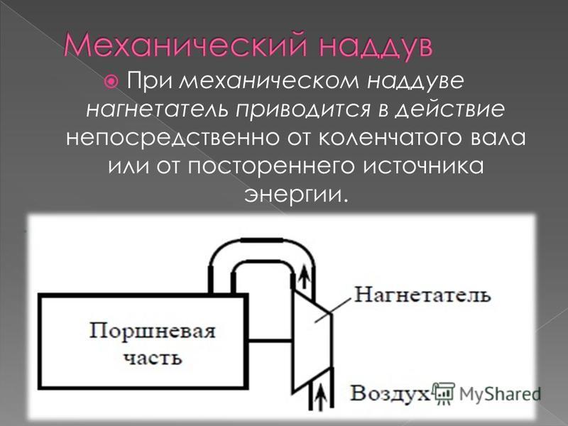 При механическом наддуве нагнетатель приводится в действие непосредственно от коленчатого вала или от постореннего источника энергии.
