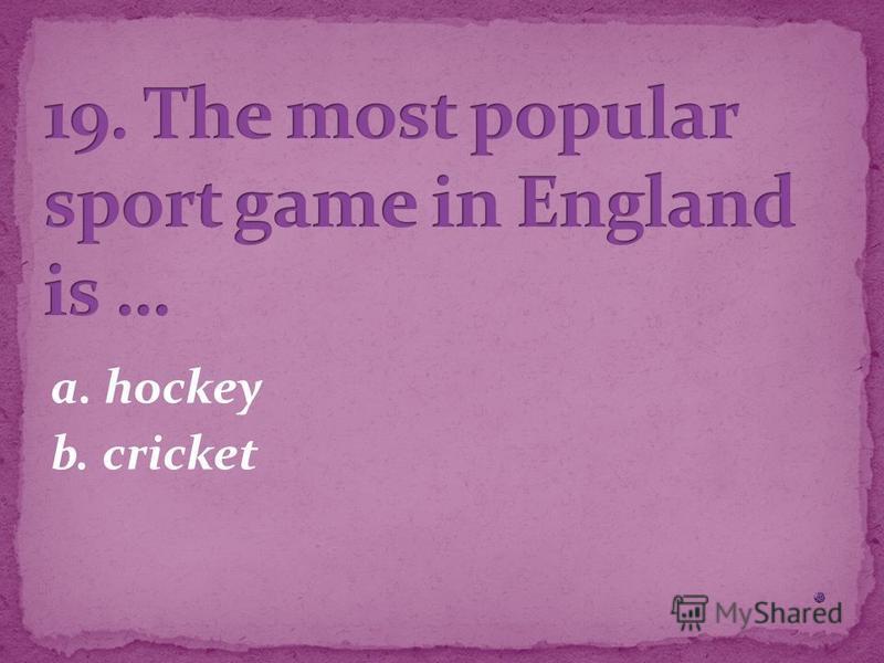a. hockey b. cricket