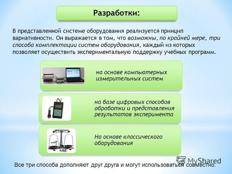 Разработки: В представленной системе оборудования реализуется принцип вариативности. Он выражается в том, что возможны, по крайней мере, три способа комплектации систем оборудования, каждый из которых позволяет осуществить экспериментальную поддержку