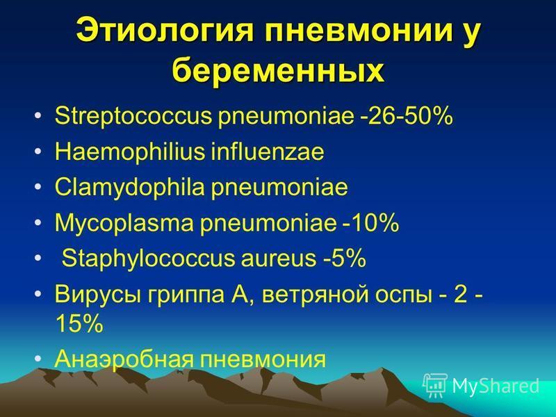 Этиология пневмонии у беременных Streptococcus pneumoniae -26-50% Haemophilius influenzae Clamydophila pneumoniae Mycoplasma pneumoniae -10% Staphylococcus aureus -5% Вирусы гриппа А, ветряной оспы - 2 - 15% Анаэробная пневмония