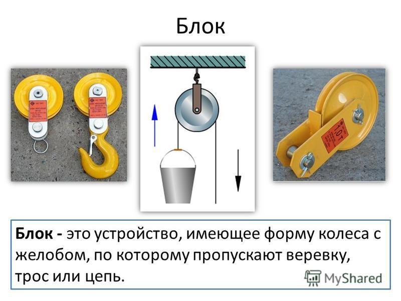Блок Блок - это устройство, имеющее форму колеса с желобом, по которому пропускают веревку, трос или цепь.