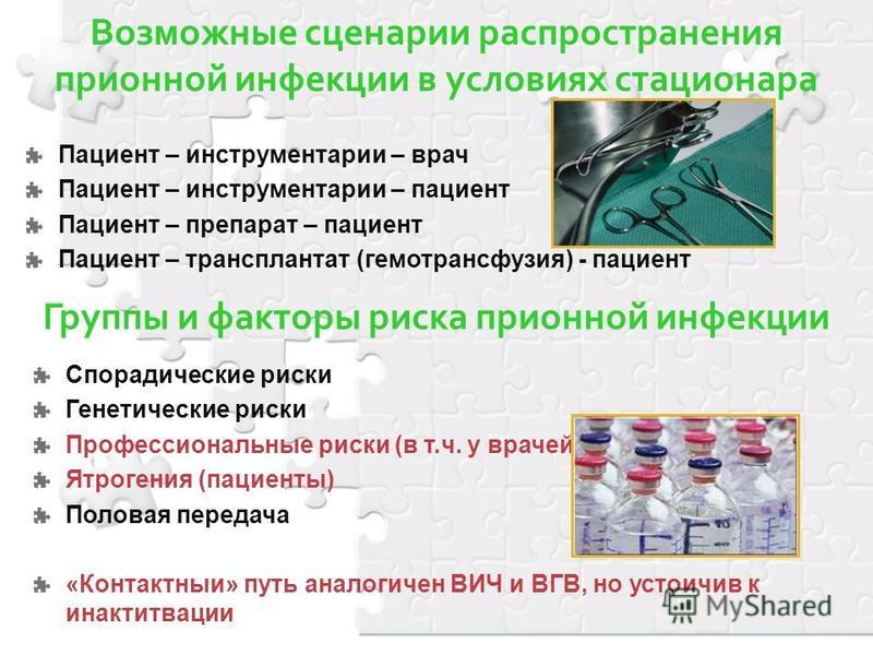 Возможные сценарии распространения приемной инфекции в условиях стационара Пациент – инструментарии – врач Пациент – инструментарии – пациент Пациент – препарат – пациент Пациент – трансплантат (гемотрансфузия) - пациент Группы и факторы риска приемн