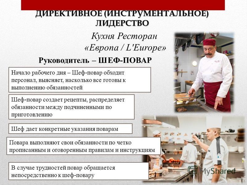 ДИРЕКТИВНОЕ (ИНСТРУМЕНТАЛЬНОЕ) ЛИДЕРСТВО Кухня Ресторан «Европа / L'Europe» Руководитель – ШЕФ-ПОВАР Начало рабочего дня – Шеф-повар обходит персонал, выясняет, насколько все готовы к выполнению обязанностей Шеф-повар создает рецепты, распределяет об