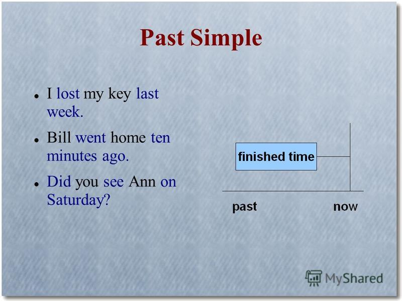 Past Simple I lost my key last week. Bill went home ten minutes ago. Did you see Ann on Saturday?