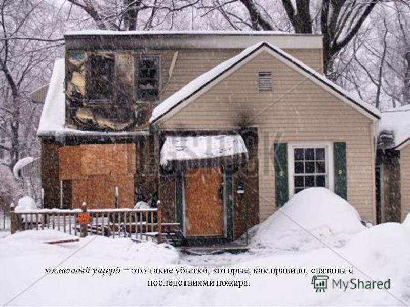 косвенный ущерб это такие убытки, которые, как правило, связаны с последствиями пожара.
