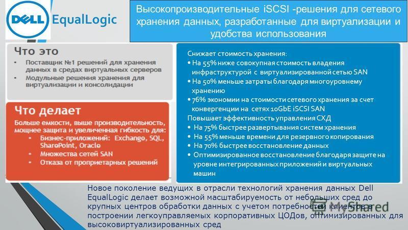 Высокопроизводительные iSCSI -решения для сетевого хранения данных, разработанные для виртуализации и удобства использования Снижает стоимость хранения: На 55% ниже совокупная стоимость владения инфраструктурой с виртуализированной сетью SAN На 50% м