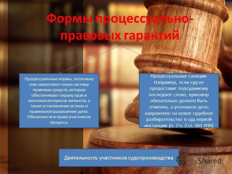 Формы процессуально- правовых гарантий Процессуальные нормы, поскольку они закрепляют такую систему правовых средств, которые обеспечивают охрану прав и законных интересов личности, а также установление истины и правильное разрешение дела. Обязанност