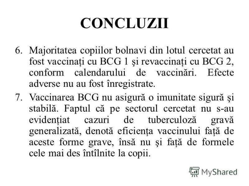 CONCLUZII 6.Majoritatea copiilor bolnavi din lotul cercetat au fost vaccinaţi cu BCG 1 şi revaccinaţi cu BCG 2, conform calendarului de vaccinări. Efecte adverse nu au fost înregistrate. 7.Vaccinarea BCG nu asigură o imunitate sigură şi stabilă. Fapt