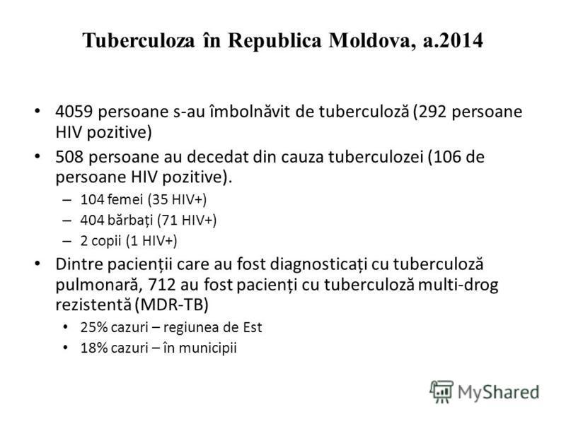 Tuberculoza în Republica Moldova, a.2014 4059 persoane s-au îmboln ă vit de tuberculoz ă (292 persoane HIV pozitive) 508 persoane au decedat din cauza tuberculozei (106 de persoane HIV pozitive). – 104 femei (35 HIV+) – 404 b ă rbați (71 HIV+) – 2 co