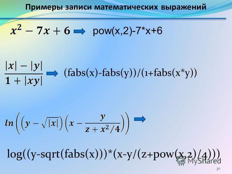 pow(x,2)-7*x+6 (fabs(x)-fabs(y))/(1+fabs(x*y)) log((y-sqrt(fabs(x)))*(x-y/(z+pow(x,2)/4))) Примеры записи математических выражений 30