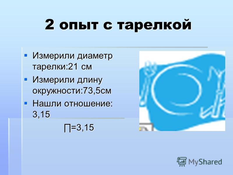 2 опыт с тарелкой Измерили диаметр тарелки:21 см Измерили диаметр тарелки:21 см Измерили длину окружности:73,5 см Измерили длину окружности:73,5 см Нашли отношение: 3,15 Нашли отношение: 3,15 =3,15 =3,15