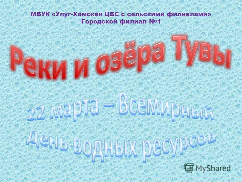 МБУК «Улуг-Хемская ЦБС с сельскими филиалами» Городской филиал 1