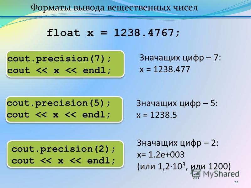 22 cout.precision(5); cout << x << endl; cout.precision(2); cout << x << endl; Значащих цифр – 5: x = 1238.5 Значащих цифр – 2: x= 1.2e+003 (или 1,2·10 3, или 1200) Форматы вывода вещественных чисел cout.precision(7); cout << x << endl; float x = 123