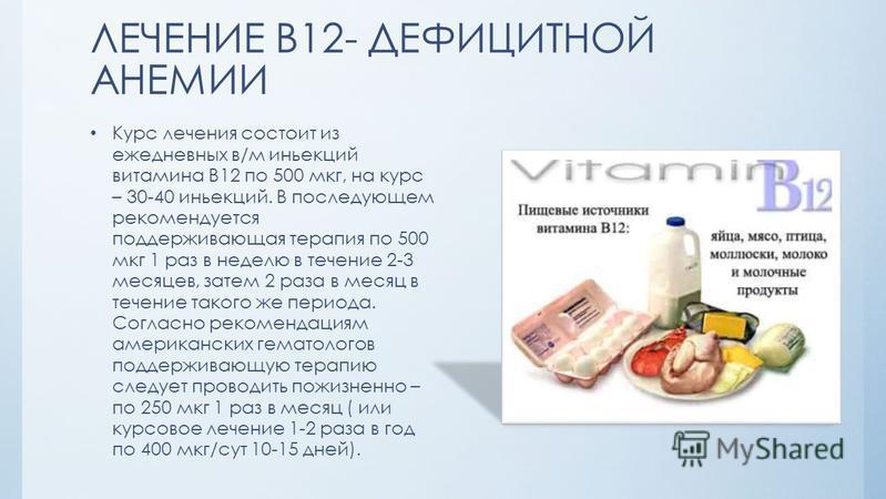 ЛЕЧЕНИЕ В12- ДЕФИЦИТНОЙ АНЕМИИ Курс лечения состоит из ежедневных в/м инъекций витамина В12 по 500 мкг, на курс – 30-40 инъекций. В последующем рекомендуется поддерживающая терапия по 500 мкг 1 раз в неделю в течение 2-3 месяцев, затем 2 раза в месяц
