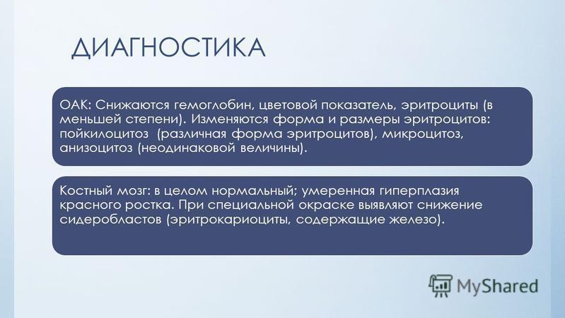 ДИАГНОСТИКА ОАК: Снижаются гемоглобин, цветовой показатель, эритроциты (в меньшей степени). Изменяются форма и размеры эритроцитов: пойкилоцитоз (различная форма эритроцитов), микроцитоз, анизоцитоз (неодинаковой величины). Костный мозг: в целом норм