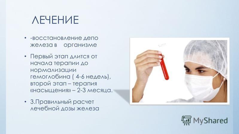 ЛЕЧЕНИЕ -восстановление депо железа в организме Первый этап длится от начала терапии до нормализации гемоглобина ( 4-6 недель), второй этап – терапия «насыщения» – 2-3 месяца. 3. Правильный расчет лечебной дозы железа